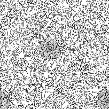 벡터 원활한 검은 색과 흰색 꽃 패턴 일러스트
