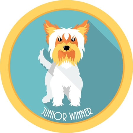 junior: dog Junior winner medal icon flat design Illustration