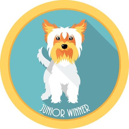 junior: dog Junior winner medal icon flat design Illustration