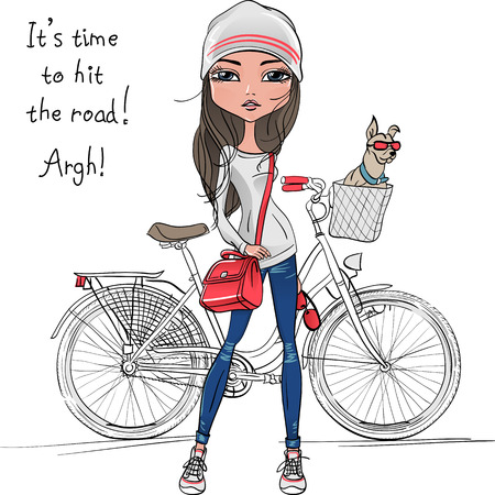 shoes cartoon: Vector Cute beautiful fashionable hipster girl with bike and dog Illustration