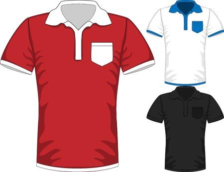 short sleeve: Vector Mens short sleeve t-shirt polo design templates Illustration