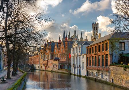 belfort: Belfort and the Green canal in Bruges, Belgium Stock Photo