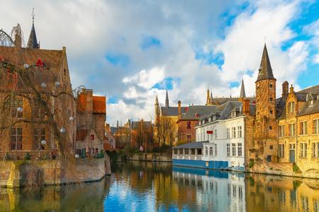 bruges: Cityscape from Rozenhoedkaai in Bruges, Belgium Stock Photo