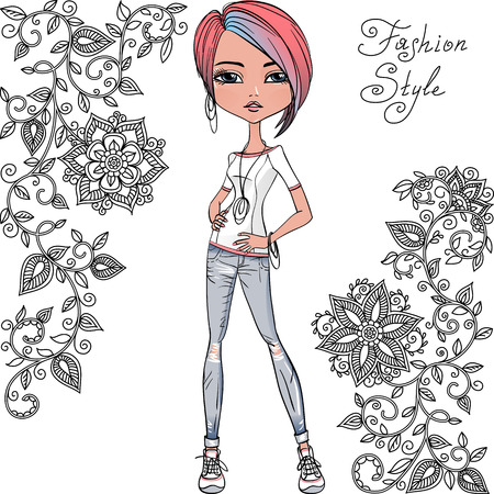 trendy girl: Vector fashion hipster girl