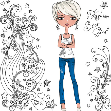 t shirt model: Vector fashion hipster girl and star Illustration