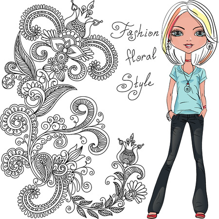 hair ornament: Vector fashion hipster girl