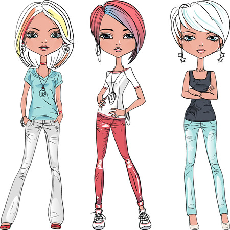 Vector beautiful fashion girls top models Çizim