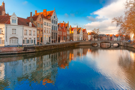 Bruges canal Spiegelrei with beautiful houses, Belgium photo