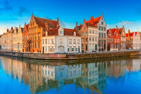 canal street: Bruges canal Spiegelrei with beautiful houses, Belgium Stock Photo
