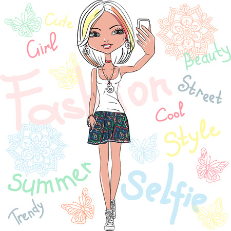かわいい女の子のベクトルになります selfie