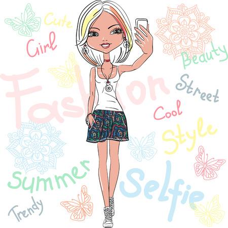 Vector cute girl makes selfie