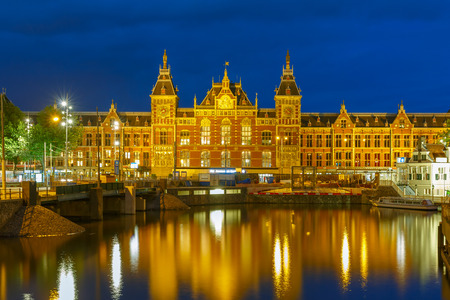amsterdam canal: Night Amsterdam canal and Centraal Station