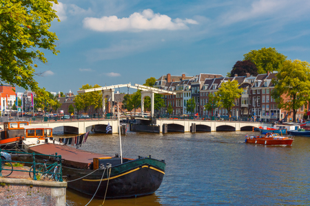amstel: Amstel and bridge Magere Brug, Amsterdam, Holland