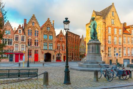 the flanders: Jan Van Eyck Square in Bruges, Belgium