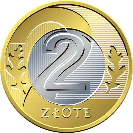 nominal: reverse Polish Money two zloty coin Illustration