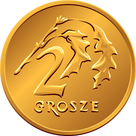 copper coin: reverse  Polish Money two groszy copper coin