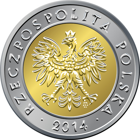 gold and silver coins: obverse Polish Money five zloty coin Illustration