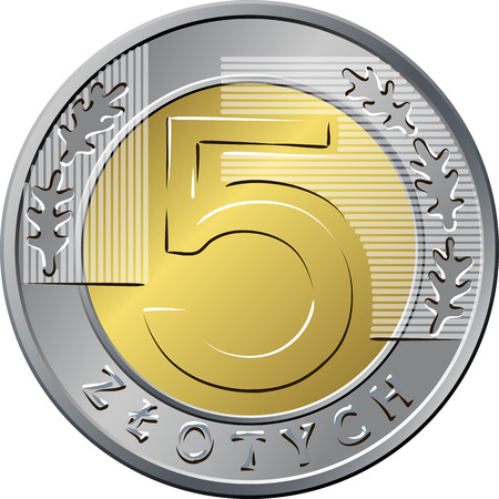 euro coin: reverse Polish Money five zloty coin Illustration