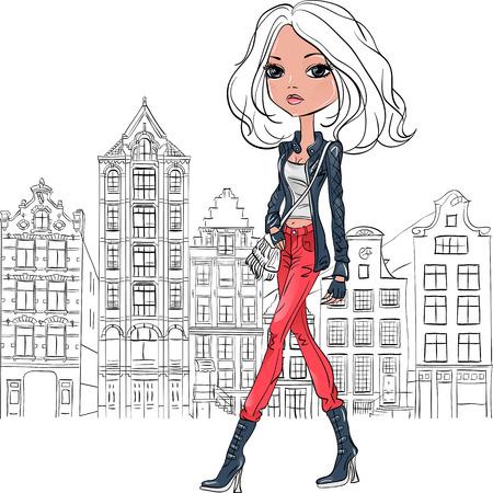 Vector mooie mode meisje in Amsterdam Stock Illustratie
