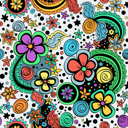 spiral: vector seamless color floral pattern