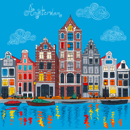 european culture: Vector Amsterdam canal and typical dutch houses