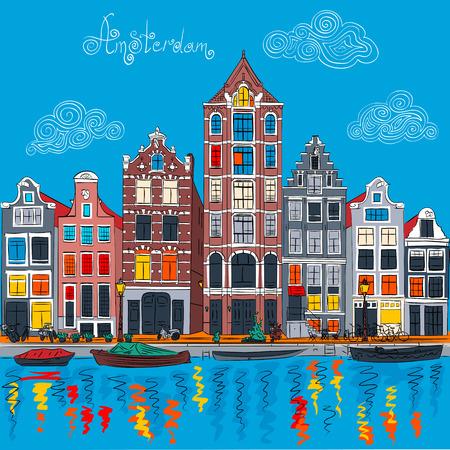 Vector Amsterdamse gracht en typische Nederlandse huizen