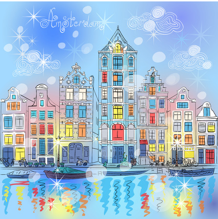european culture: Vector Christmas Amsterdam canal and dutch houses
