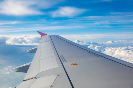 through window: Looking through window aircraft during flight.
