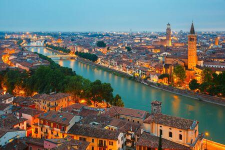 verona: Verona skyline at night, Italy
