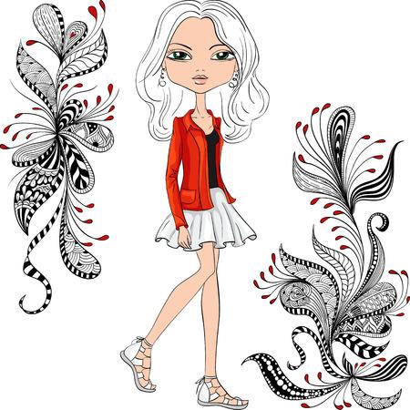 jovenes felices: Vector inconformista moda chica