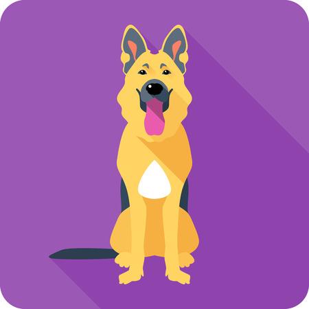pastorcillo: perro pastor alemán que se sienta icono de diseño plano Vectores