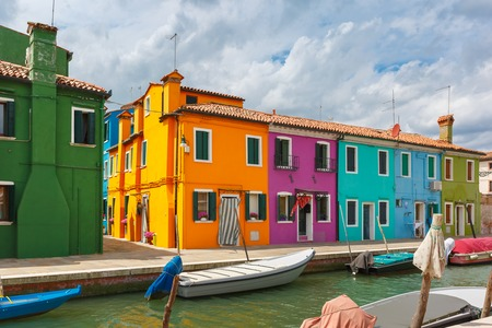 burano: Colorful houses on the Burano Venice Italy