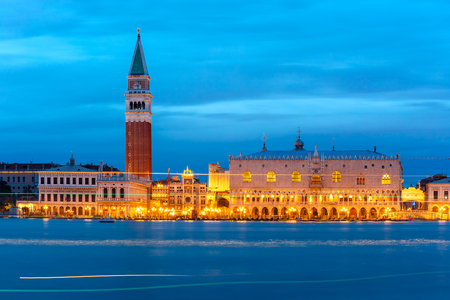 campanile: St. Marks Campanile and Doge Palace, night, Venice Editorial