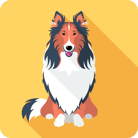 collie: Vector smiling dog Rough collie red and black sitting icon flat design
