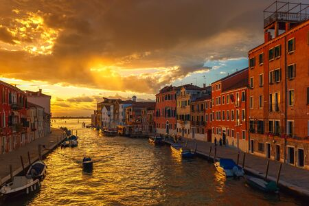 grandiose: Grandiose sunset on the canal Cannaregio in Venice, Italy Stock Photo