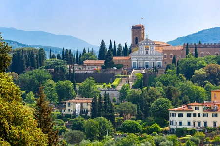 tuscany: Basilica San Miniato al Monte on the south bank of the River Arno, at morning from Palazzo Vecchio in Florence, Tuscany, Italy