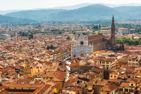 santa cross: View of the Basilica of the Holy Cross or Basilica di Santa Croce  at morning from Palazzo Vecchio in Florence, Tuscany, Italy