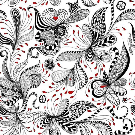 vector naadloze zwart, rood en wit patroon van spiralen, wervelingen, krabbels