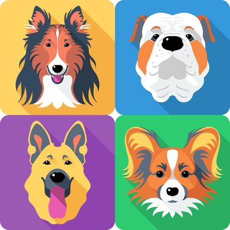long tongue: Vector dog Rough collie, Papillon, German shepherd and English Bulldog breed face icon flat design