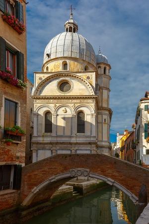 sestiere: Church Santa Maria dei Miracoli or Marble church in the sestiere of Cannaregio at morning, in Venice, Italia
