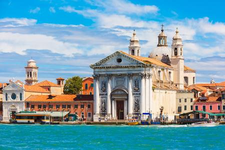 sestiere: View from the sea to Dominican church Il Gesuati or Santa Maria del Rosario in the Sestiere of Dorsoduro, on the Giudecca canal in Venice, Italia Stock Photo