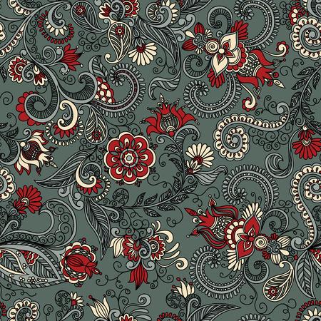 naadloze grijze en rode patroon van de spiralen, wervelingen, krabbels