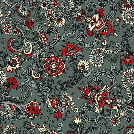 seamless gray and red pattern of spirals, swirls, doodles