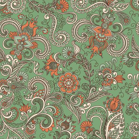 orange pattern: seamless green and orange pattern of spirals, swirls, doodles Illustration
