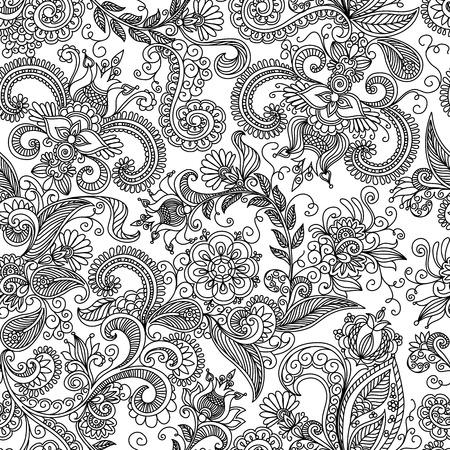 naadloze zwart-wit patroon o Stock Illustratie