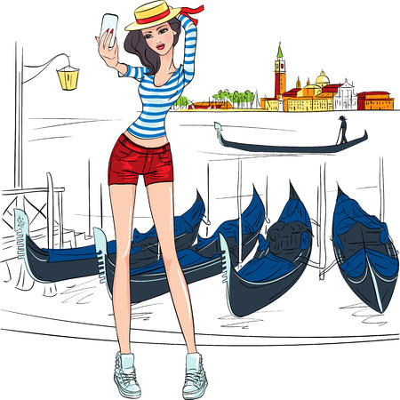 gondolier: Lovely fashion girl makes selfie, she is  in the hat and striped shirt like Gondolier on a Venice background in sketch-style
