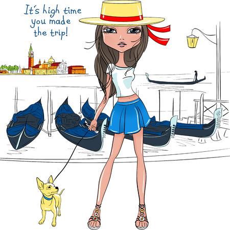 Mooie mode meisje in de hoed als gondelier wih hond op een achtergrond van Venetië in schets-stijl