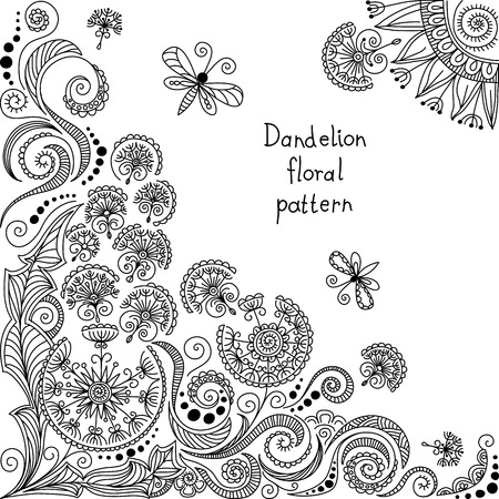 vector black and white dandelion floral pattern of spirals, swirls, doodles