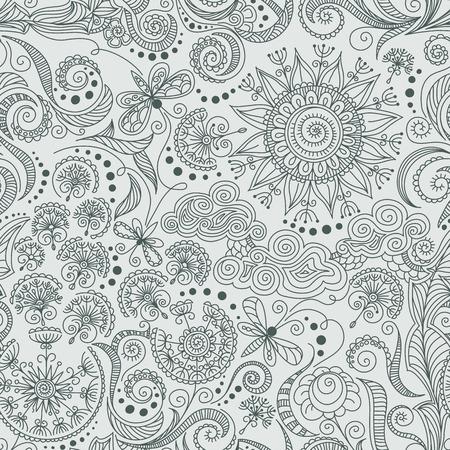 black swirls: vector seamless black, red and white hand-drawn pattern of spirals, swirls, doodles Illustration