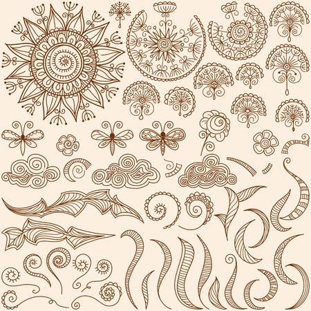 papillon: vecteur dessin�e � la main au henn� mehndi tatouage doodle �l�ments de conception avec le soleil et le papillon, des spirales et des remous